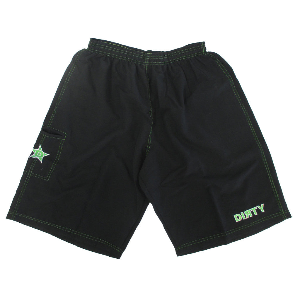 Dirty Sports, Micro Fiber Shorts - Black, Green logo