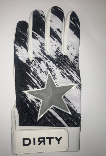 Dirty Sports, Batting Gloves - Gray Star, Black and White