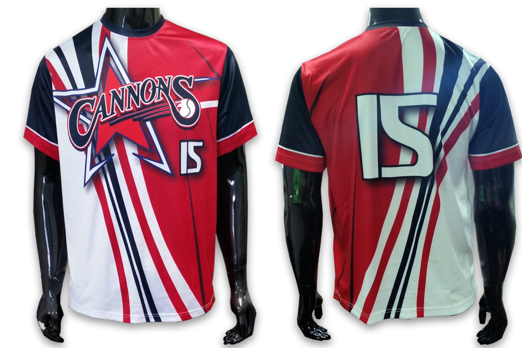 Cannons - Red, White, Blue - Custom Full-Dye Jersey