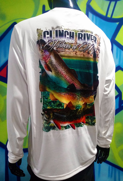 Clinch River, Long Sleeve, Trout Fishing - Partial Dye