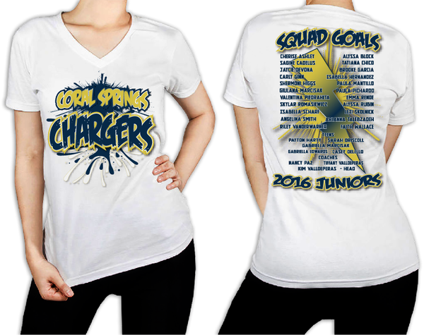 Women's White T-Shirt - Coral Springs Junior CHARGERS