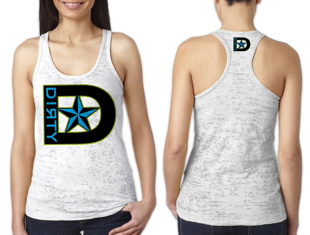 Women's White Burnout TANK - D-Star Logo BLUE