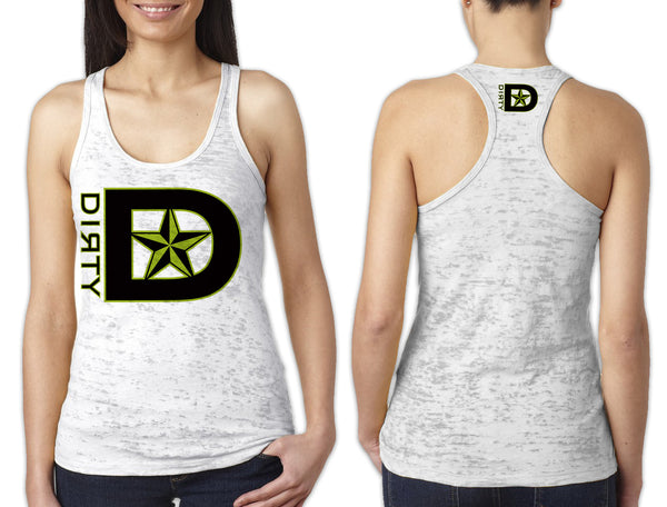 Women's White Burnout TANK - D-Star Logo GREEN
