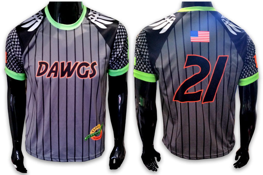 DAWGS, Gray w/Pin Stripes - Custom Full-Dye Jersey