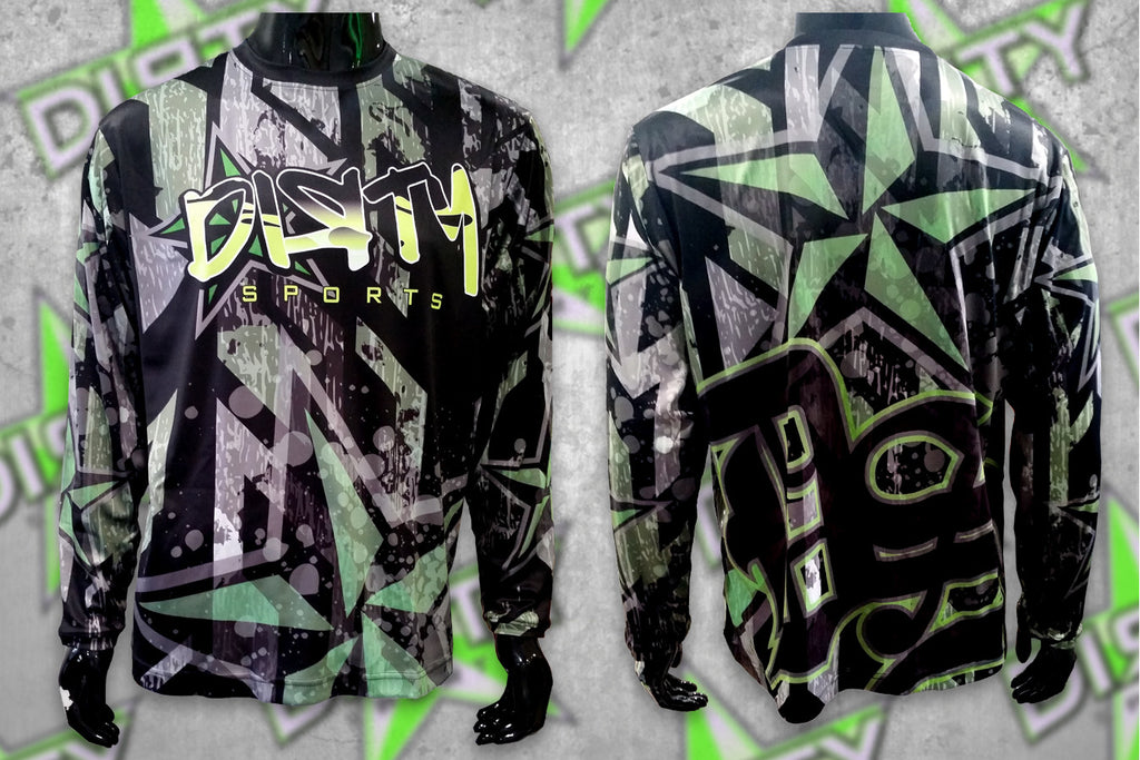 DIRTY SPORTS - Black, Neon Green DIRTY STAR Long-Sleeve Shirt
