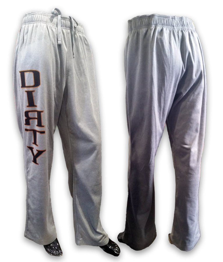 Sweat Pants - Black & Orange DIRTY logo on Gray