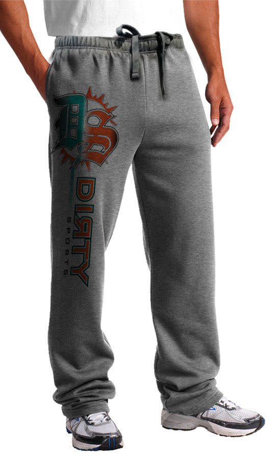 Sweat Pants - DS Logo, DOLPHINS Colors on Gray