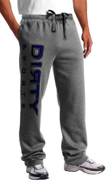 Sweat Pants - DIRTY Logo, Gradient-Stroked BLUE on Gray