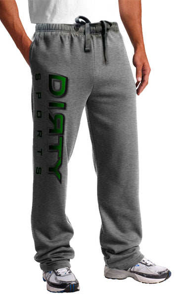 Sweat Pants - DIRTY Logo, Gradient-Stroked GREEN on Gray