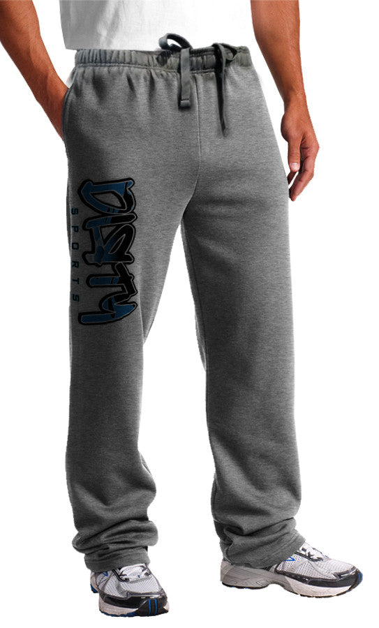 Sweat Pants - DIRTY Graffiti Logo, BLUE on Gray