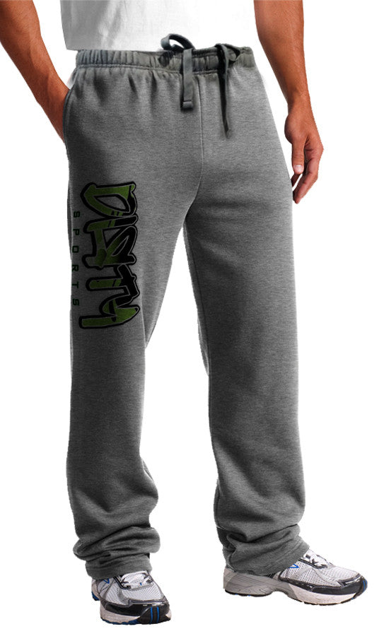 Sweat Pants - DIRTY Graffiti Logo, GREEN on Gray