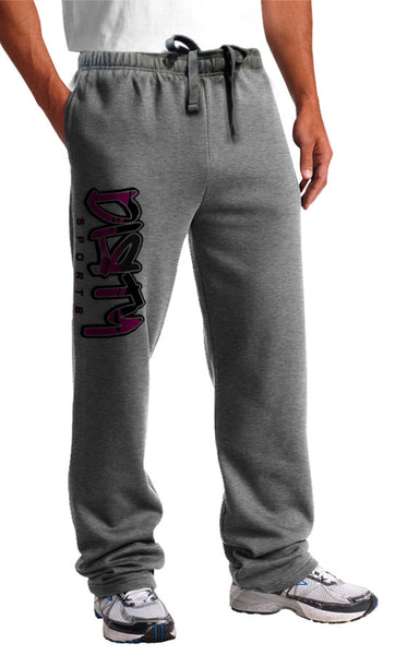 Sweat Pants - DIRTY Graffiti Logo, PINK on Gray