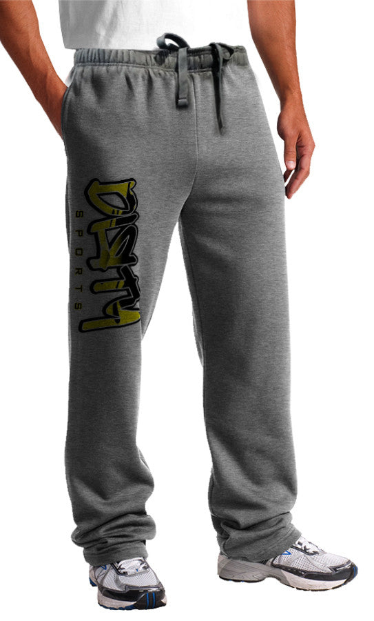 Sweat Pants - DIRTY Graffiti Logo, YELLOW on Gray