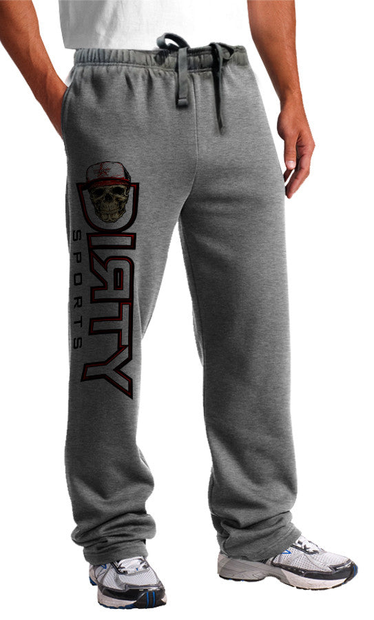 Sweat Pants - Skull, DIRTY Logo, RED on Gray