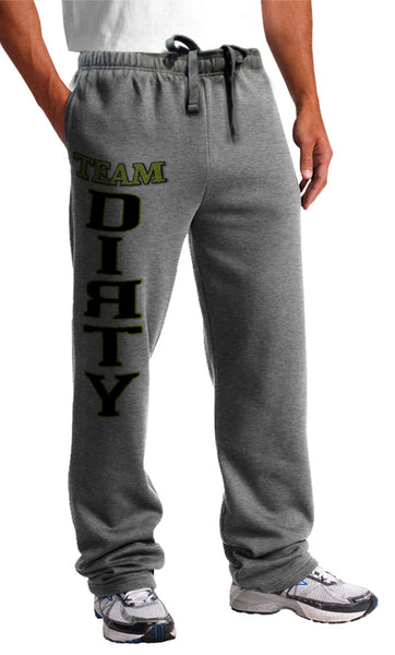 Sweat Pants - TEAM DIRTY Logo, BLACK & GREEN on Gray