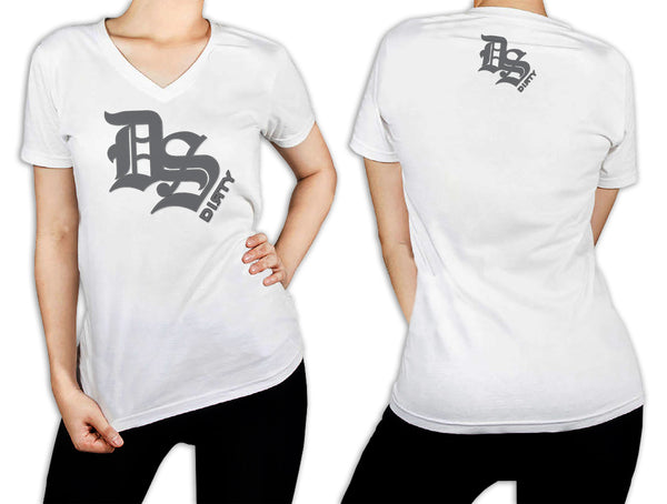 Women's White T-Shirt - DS Olde English Logo GRAY
