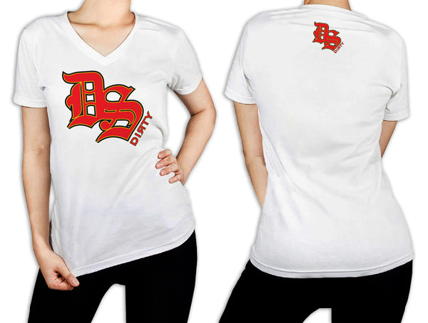 Women's White T-Shirt - DS Olde English Logo RED