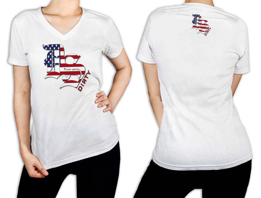 Women's White T-Shirt - DS Olde English Logo STARS & STRIPES