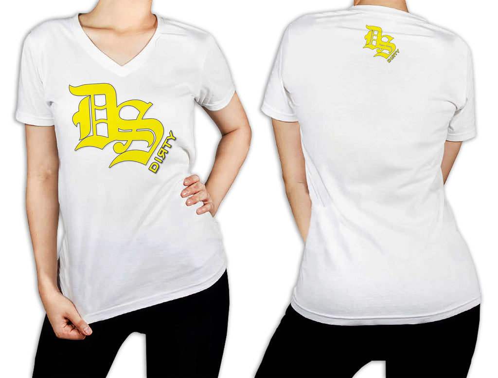 Women's White T-Shirt - DS Olde English Logo YELLOW