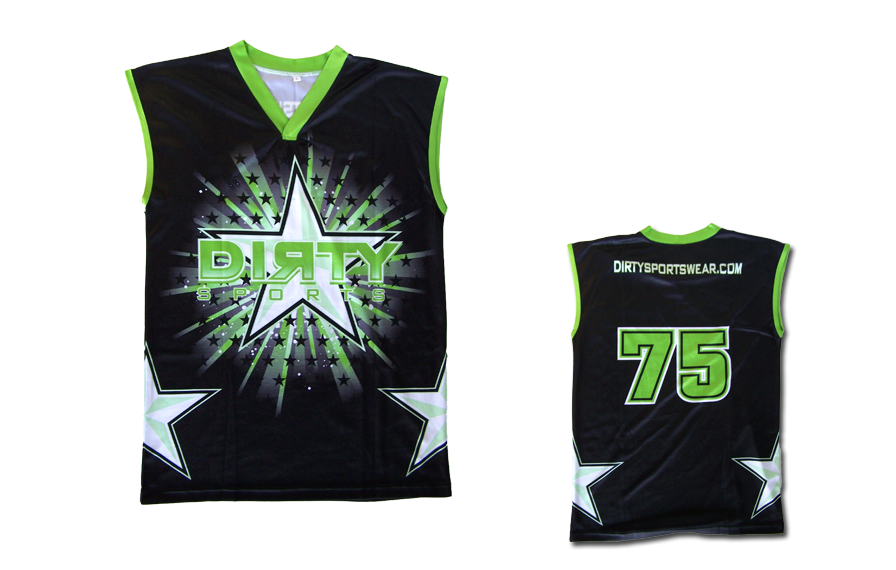 Sleeveless Black Dye-Sub Shirt w/ Green Dirty Sports Star