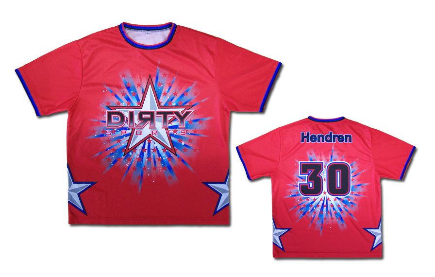 Red Dye-Sub Shirt w/ Blue Dirty Star Burst