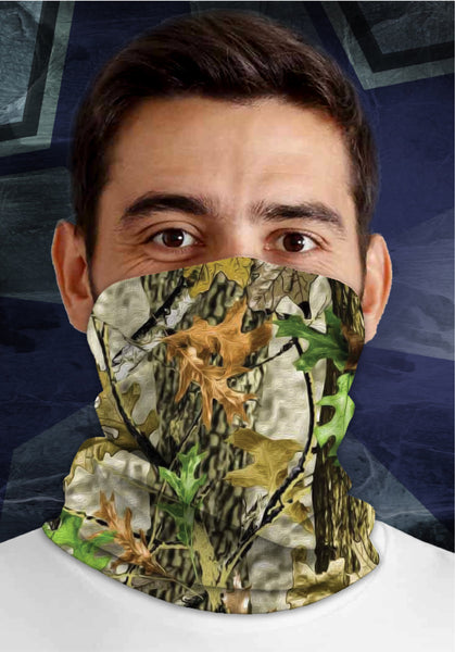 Woodland Camouflage, Dirty Sports Face Mask Shield