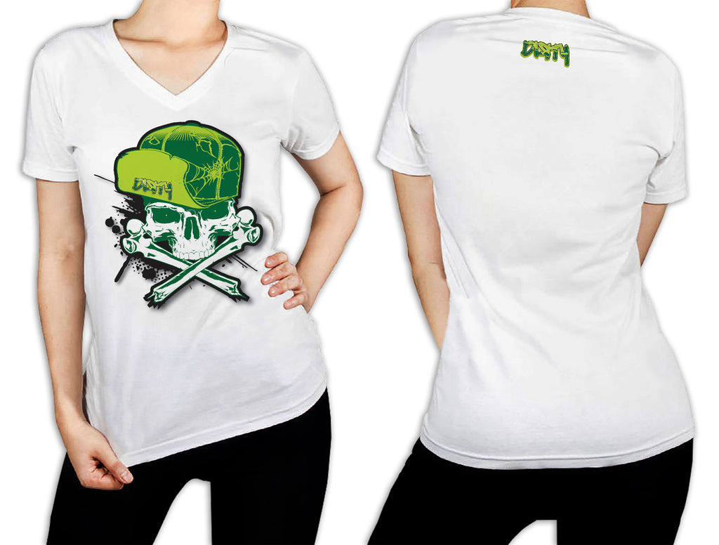 Women's White T-Shirt - Dirty Skull Flip Hat GREEN