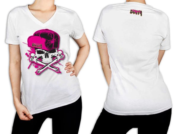 Women's White T-Shirt - Dirty Skull Flip Hat PINK