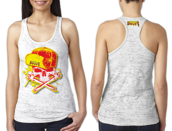 Women's White Burnout TANK - Dirty Skull Flip Hat YELLOW