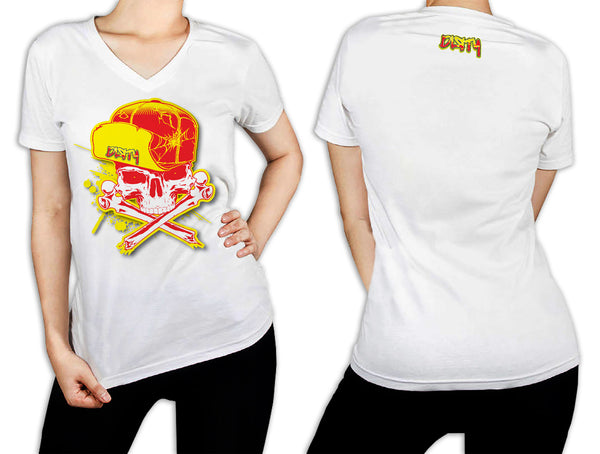 Women's White T-Shirt - Dirty Skull Flip Hat YELLOW