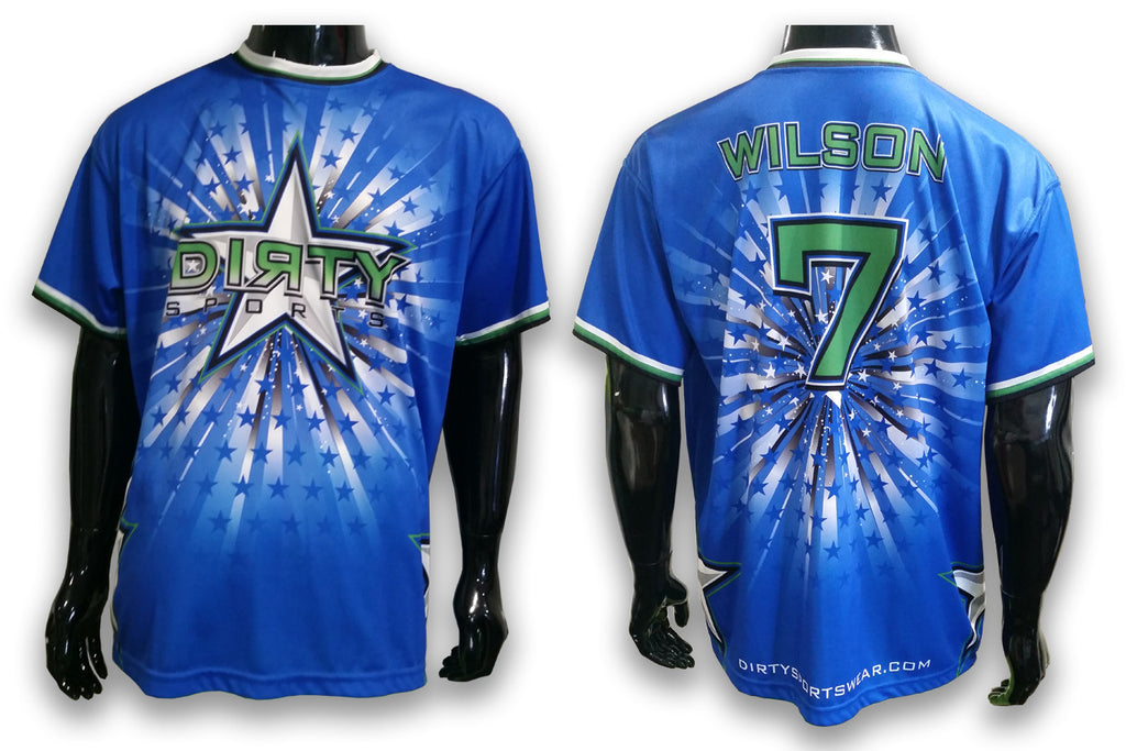 Dirty Sports Blue Stars - Custom Full-Dye Jersey