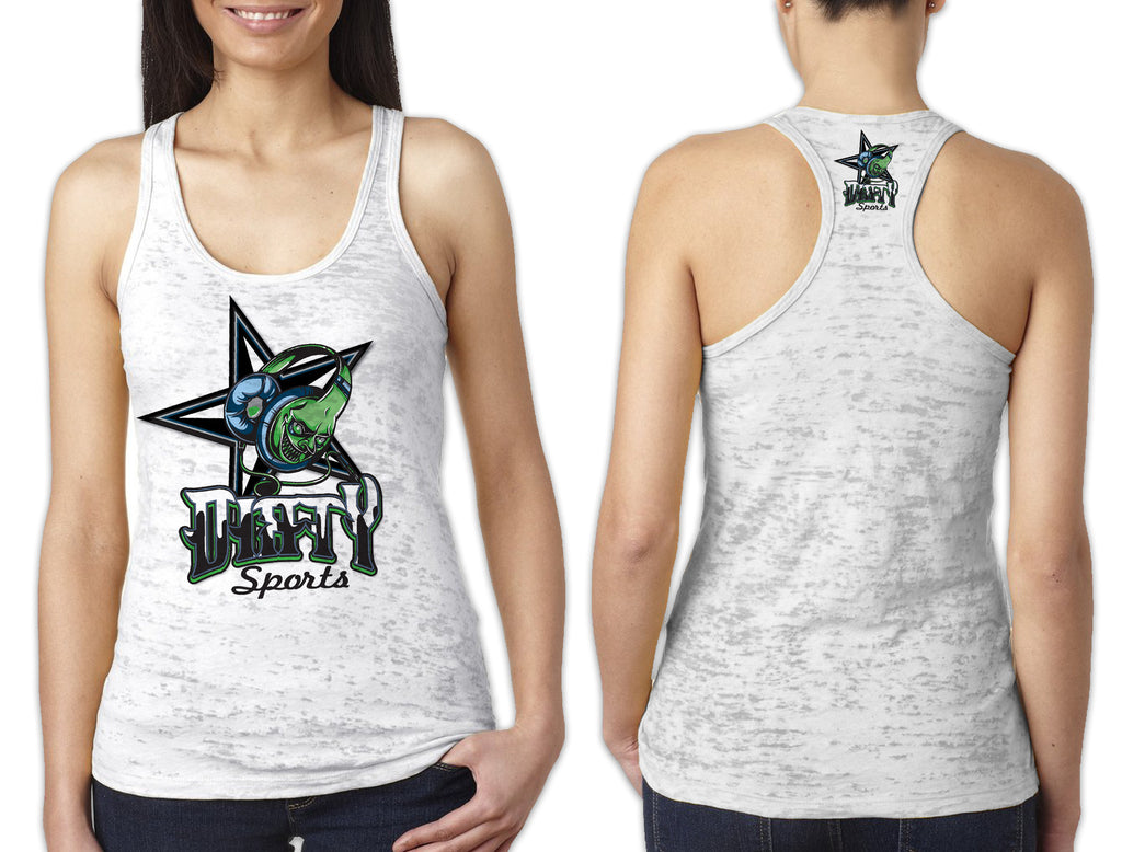 Women's White Burnout TANK - Dirty Sports Ear Phones