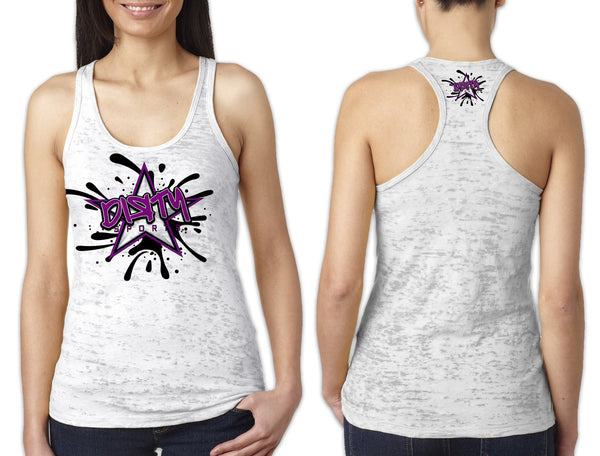 Women's White Burnout TANK - Dirty Sports Graffiti PURPLE