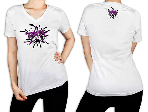 Women's White T-Shirt - Dirty Sports Graffiti PURPLE