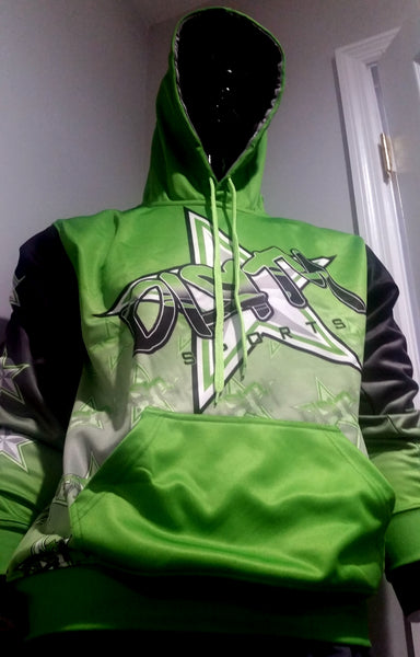 Dirty Sports, Graffiti Star, Neon Green - Full-Dye, Pull Over Hoodie