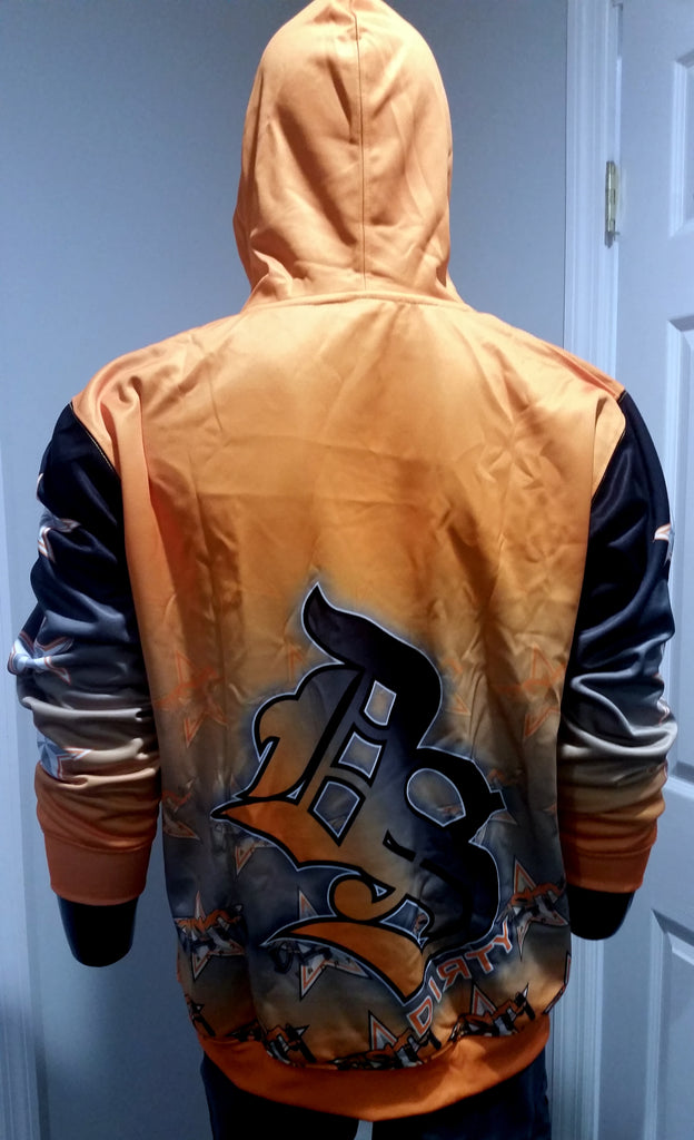 Dirty Sports, Graffiti Star, Orange - Full-Dye, Pull Over Hoodie
