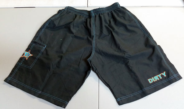 Dirty Sports, Micro Fiber Shorts - Black, Teal & Orange logo