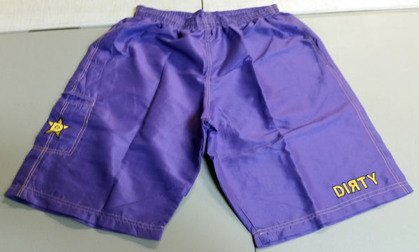 Dirty Sports, Micro Fiber Shorts - Purple, Gold logo