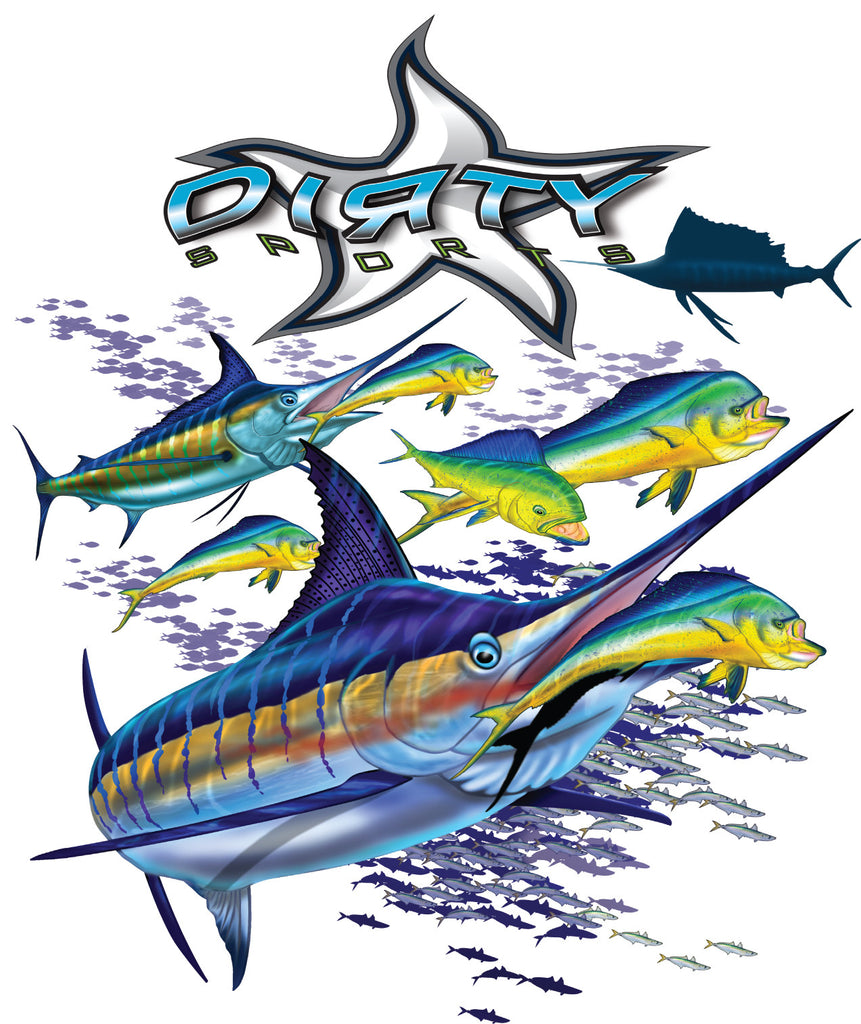 Sailfish with Dolphin - Long Sleeve Polyester Fishing Shirt