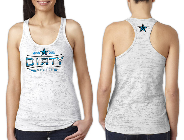 Women's White Burnout TANK - Dirty Stretch EST. 2011