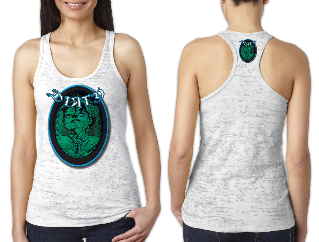 Women's White Burnout TANK - Dirty Throat DAY of the DEAD