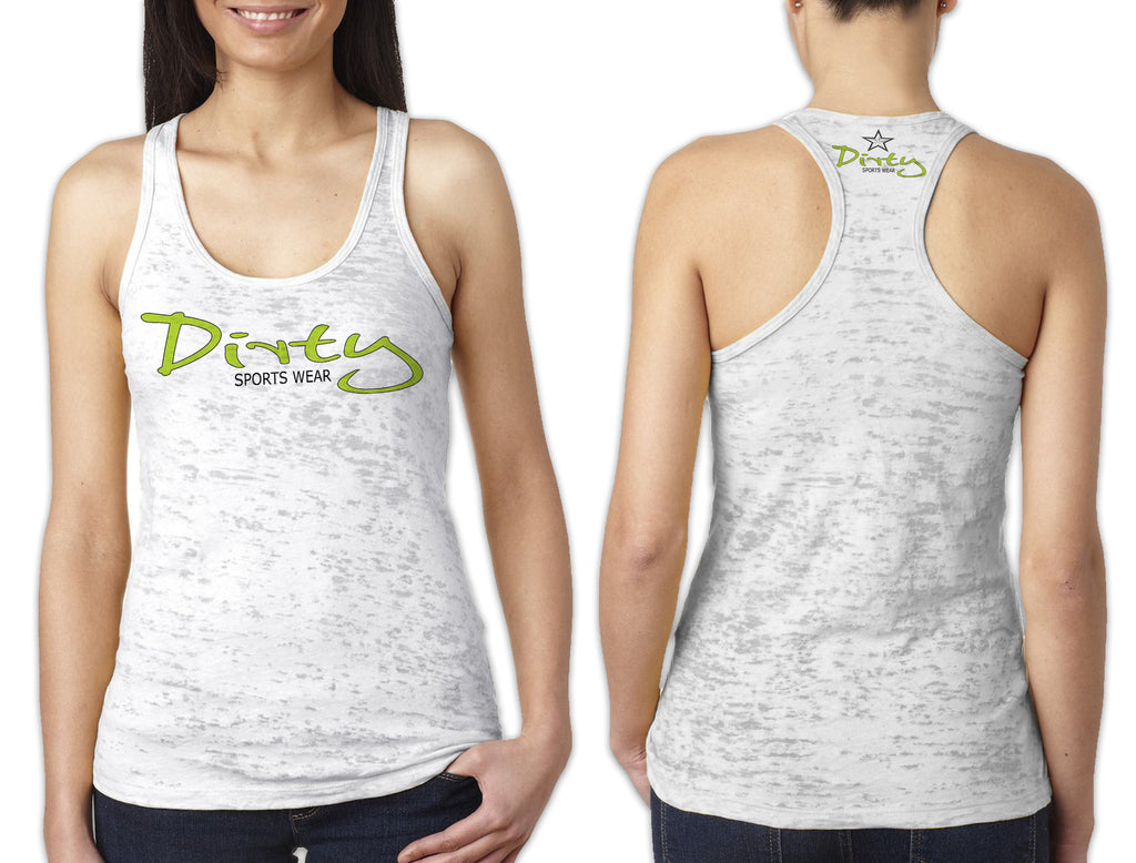 Women's White Burnout TANK - Dirty in Lime