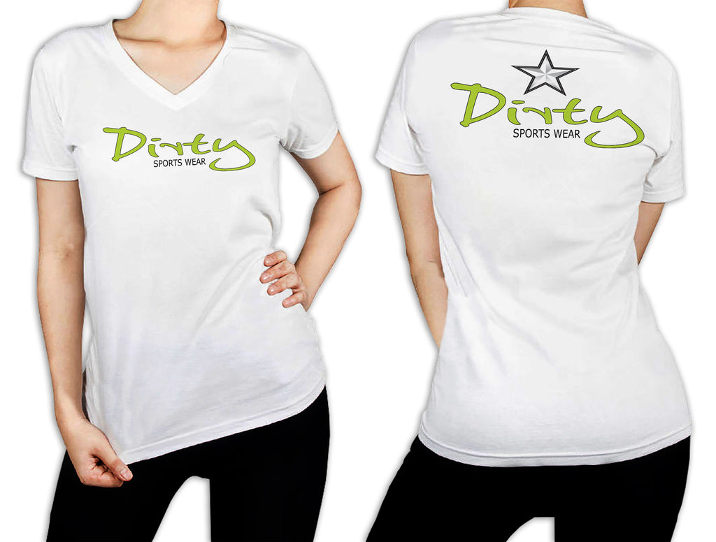 Women's White T-Shirt - Dirty in Lime