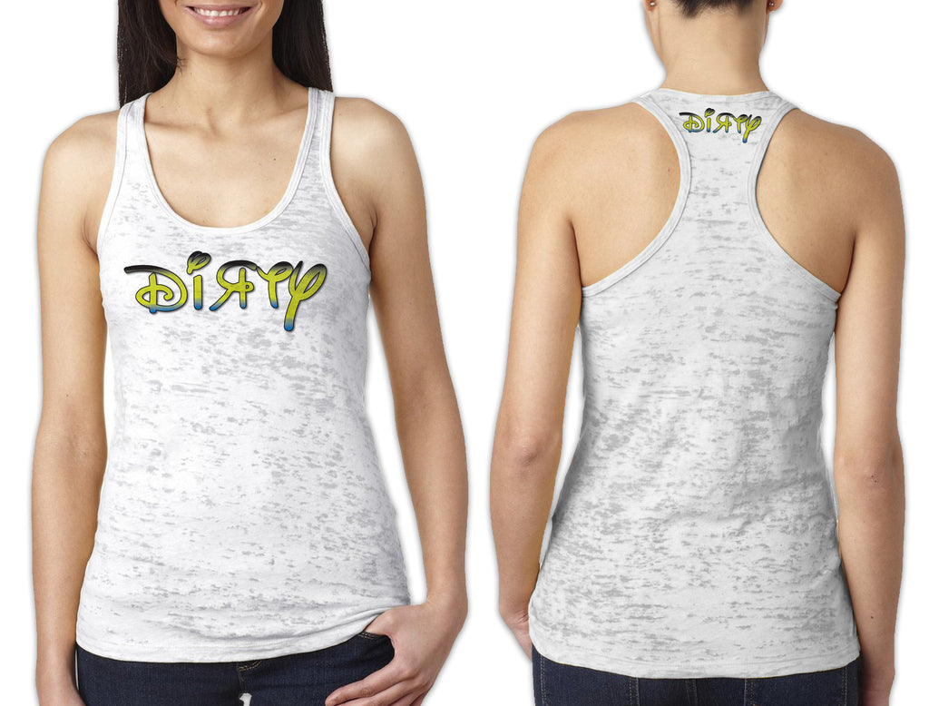 Women's White Burnout TANK - Disney Dirty Green