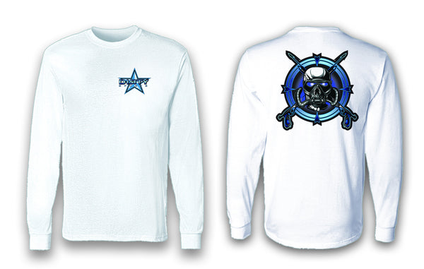 Diving Mask Blue Skull - Long Sleeve Polyester Fishing Shirt