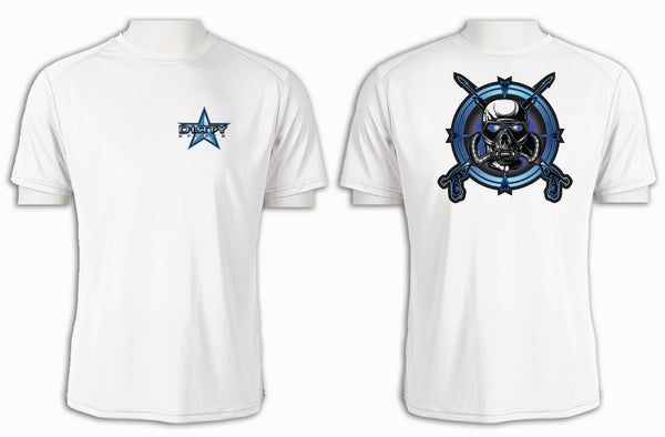 Diving Mask Blue Skull - Short Sleeve Polyester Shirt