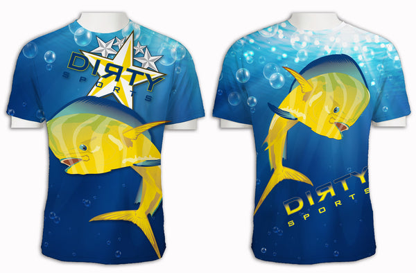 Dolphin Blue Bubbles FULL - Short Sleeve Polyester Shirt