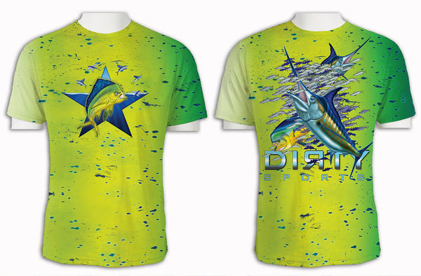 Mean Mahi with Flyers FULL - Short Sleeve Polyester Shirt