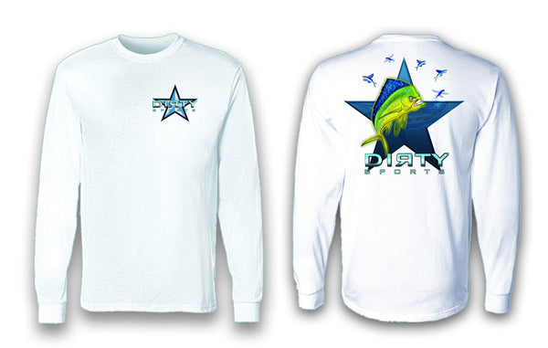 Mean Mahi with Flyers SPOT - Long Sleeve Polyester Fishing Shirt
