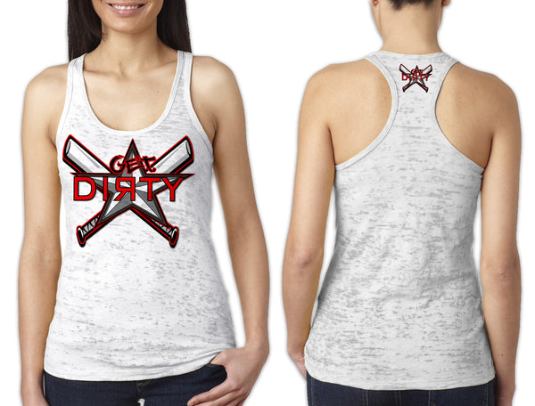 Women's White Burnout TANK - Get Dirty Monica
